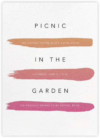 Gradient Brush Strokes - Pink - Paperless Post - Casual Party Invitations