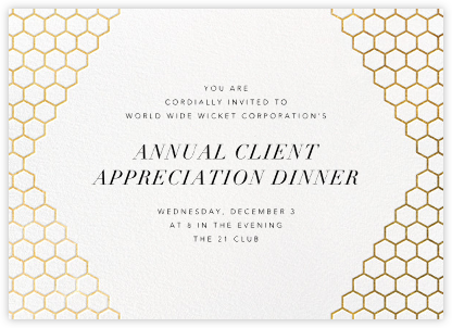 Honeycomb Party - Gold - Paperless Post - Reception invitations
