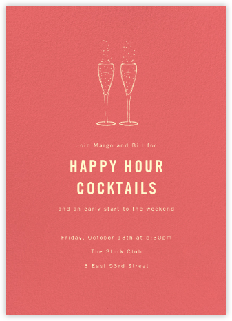 Coral (Tall) - Paperless Post - Happy Hour Invitations