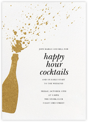Champers - Gold - Paperless Post - Business Party Invitations
