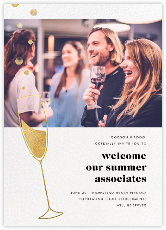 Champagne Bubbles (Photo) - Gold - Paperless Post - Happy hour invitations