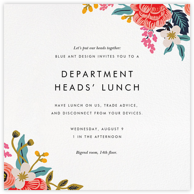 Birch Monarch Suite (Square) - Rifle Paper Co. - Dinner and luncheon