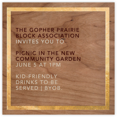 Wood Grain Light - Square (Foil) - Paperless Post - Casual Party Invitations