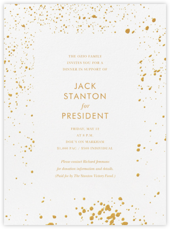 Splatter Cloth I (Invitation) - Gold - Paperless Post - Charity and fundraiser invitations