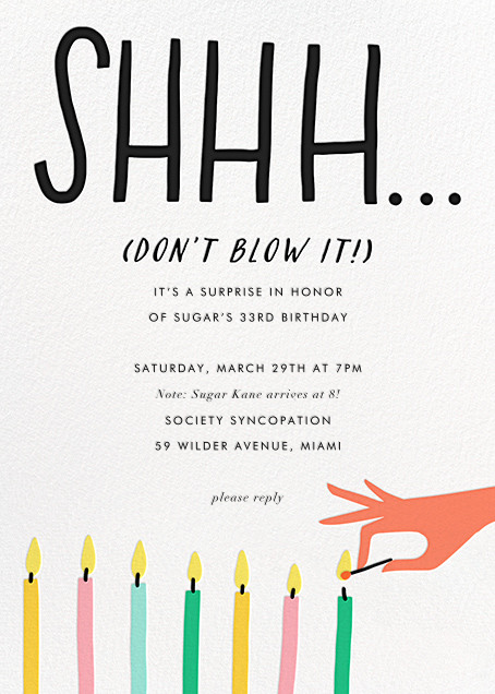 Don't Blow It - Salmon - Hello!Lucky - Adult birthday invitations