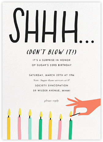 Don't Blow It - Salmon - Hello!Lucky - Adult birthday invitations
