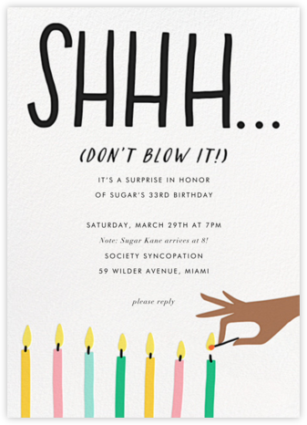 Don't Blow It - Mahogany - Hello!Lucky - Adult birthday invitations