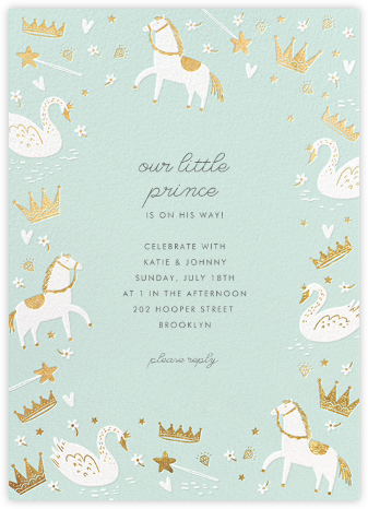 Fairy Tale Royalty - Mint - Hello!Lucky - Baby shower invitations