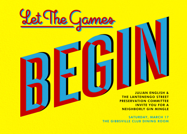 Let the Games Begin - Yellow - Paperless Post - Casual entertaining
