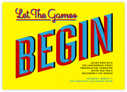 Let the Games Begin - Yellow - Paperless Post - Business Party Invitations