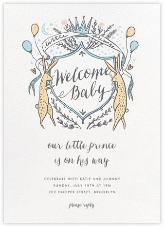 Lord and Lady Bunny - Blue - Hello!Lucky - Baby shower invitations