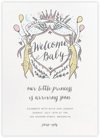 Lord and Lady Bunny - Pink - Hello!Lucky - Woodland Baby Shower Invitations