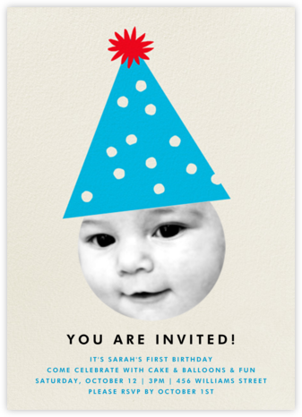 Party Hat - Blue - The Indigo Bunting - First Birthday Invitations