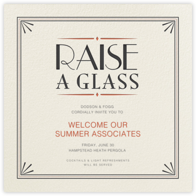 Raise a Glass - Crate & Barrel - Invitations