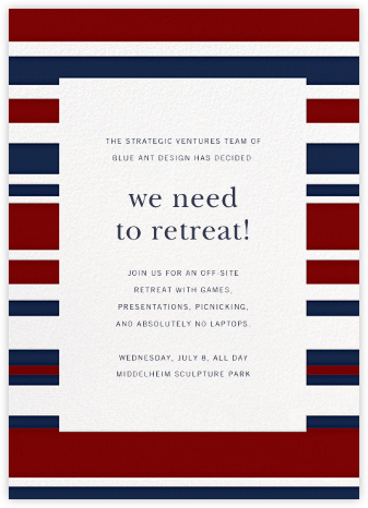 Patriotic Stripes - Navy/Crimson - Paperless Post - Casual Party Invitations