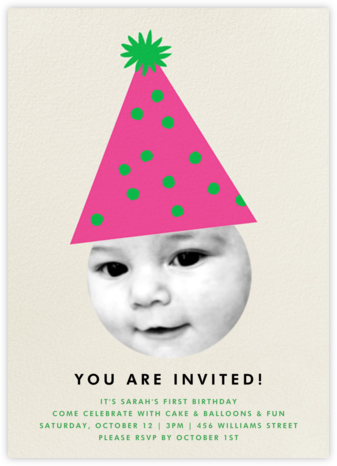 Party Hat - Pink - The Indigo Bunting - First Birthday Invitations