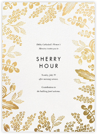 Heather and Lace (Invitation) - White/Gold - Rifle Paper Co. - Professional party invitations and cards