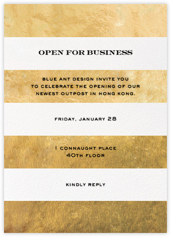 Evergreen Stripes - Gold/White - kate spade new york - Launch Party Invitations