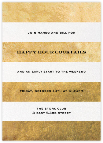 Evergreen Stripes - Gold/White - kate spade new york - Happy Hour Invitations
