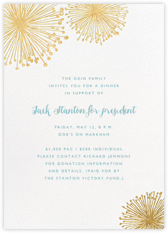 Dandelion (Invitation) - White/Gold - Paperless Post - Fundraiser Invitations