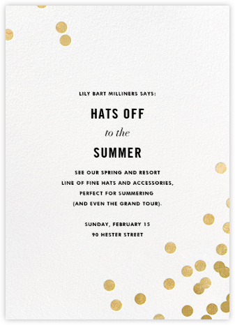 Confetti (Invitation) - White/Gold - kate spade new york - Launch Party Invitations