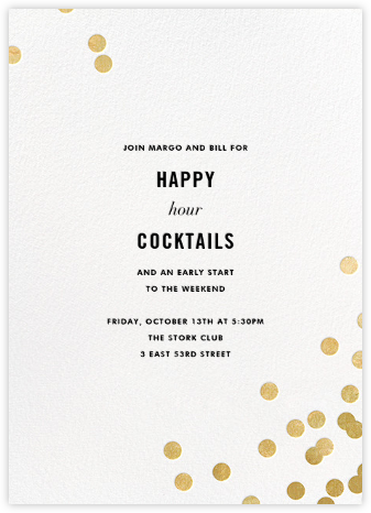Confetti (Invitation) - White/Gold - kate spade new york - Happy Hour Invitations
