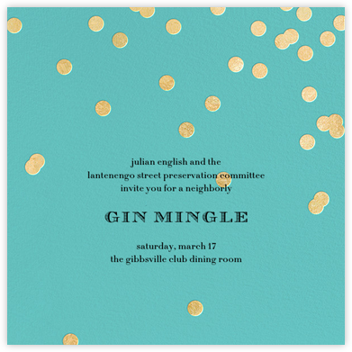 Come Celebrate - Aqua/Gold - kate spade new york - Happy hour invitations