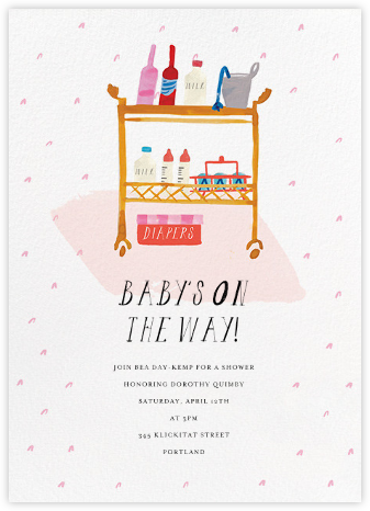 A Bar Cart for Baby Juniper - Mr. Boddington's Studio - Online Baby Shower Invitations