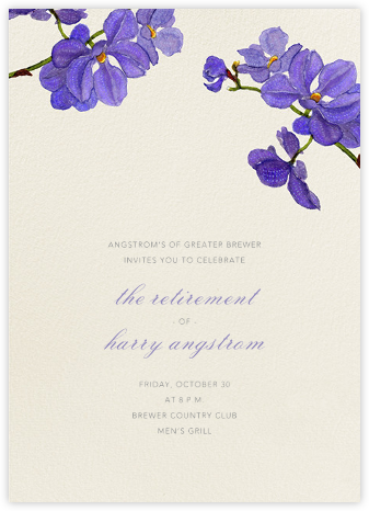 Moth Orchid - Purple - Felix Doolittle - Retirement invitations, farewell invitations