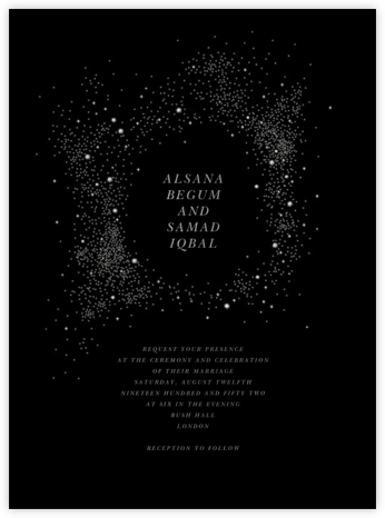 Pleiades (Invitation) - Black - Paperless Post - Online Wedding Invitations