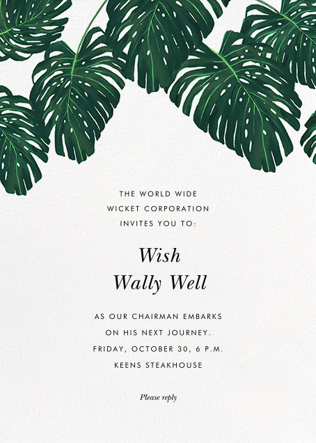 Monstera - Paperless Post - Retirement invitations, farewell invitations