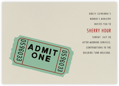 Admit One - Hannah Berman - Charity and fundraiser invitations