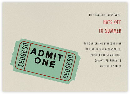 Admit One - Hannah Berman - Launch and event invitations