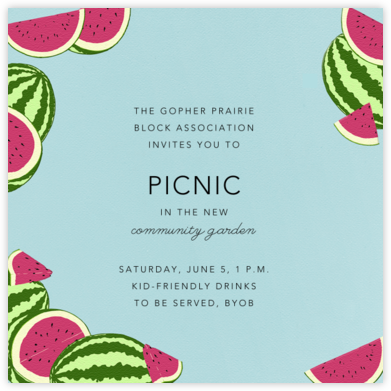 Watermelons (Light Blue) - Paperless Post - Casual Party Invitations