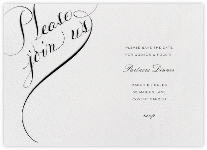 Please Join Us (Horizontal) - Black - Bernard Maisner - Business Party Invitations