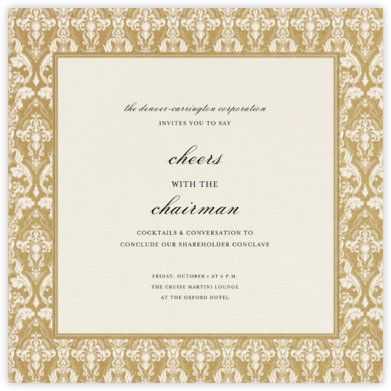 Damask (Border) - Cream/Millet - Paperless Post - Business event invitations