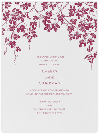 Vineyard I (Invitation) - Burgundy - Paperless Post - Launch Party Invitations