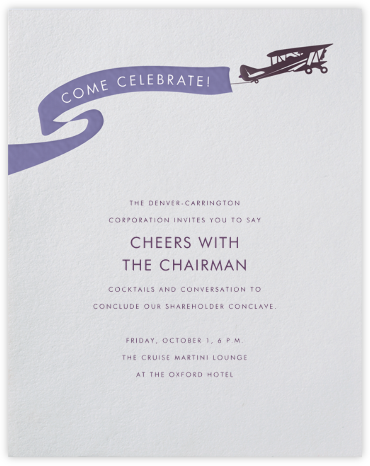 Biplane - Paperless Post - Launch Party Invitations