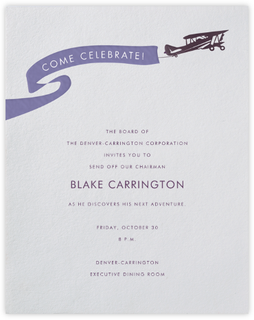 Biplane - Paperless Post - Farewell party invitations