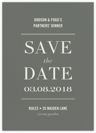 Typographic II (Save the Date) - Gray - kate spade new york - Kate Spade invitations, save the dates, and cards