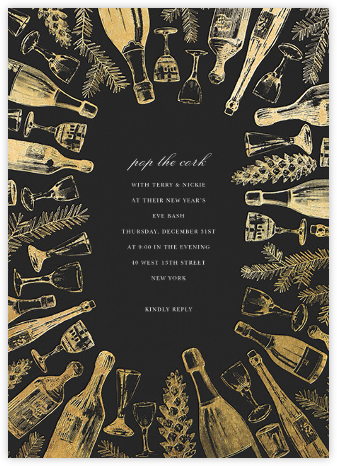Holiday Spirits - Caviar/Gold - Paperless Post - New Year's Eve Invitations