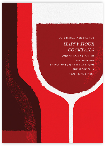 Pour You - Red - Paperless Post - Happy Hour Invitations
