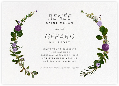 Belvoir - Purple/White - Paperless Post - Wedding Invitations