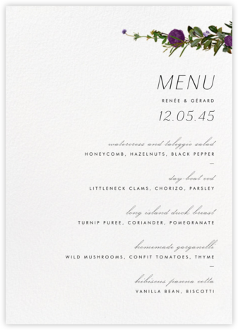 Belvoir (Menu) - Purple/White - Paperless Post - Wedding menus and programs - available in paper
