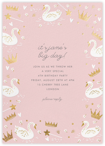 Fairy Tale Royalty - Blush - Hello!Lucky - Online Kids' Birthday Invitations