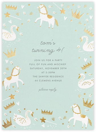 Fairy Tale Royalty - Mint - Hello!Lucky - First Birthday Invitations