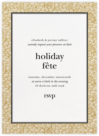 Naive Wave - Gold - Paperless Post - Holiday invitations