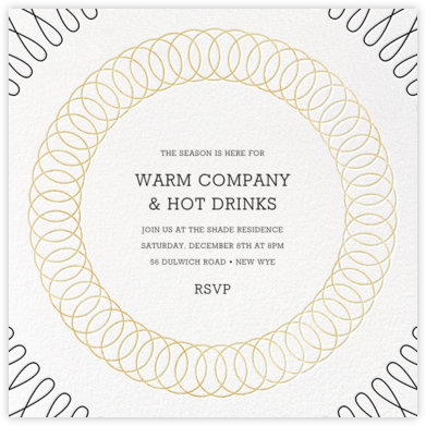Spirals (Square) - Gold - Paperless Post - Holiday invitations