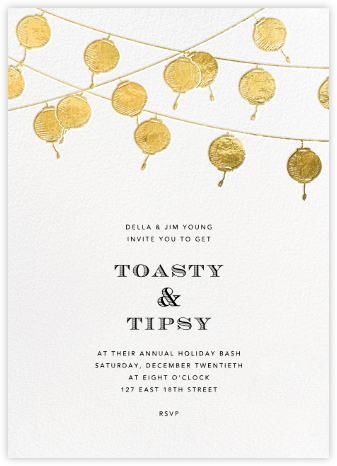 Lanterns - Gold - Paperless Post - Holiday invitations