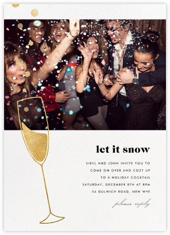 Champagne Bubbles (Photo) - Gold - Paperless Post - Holiday invitations